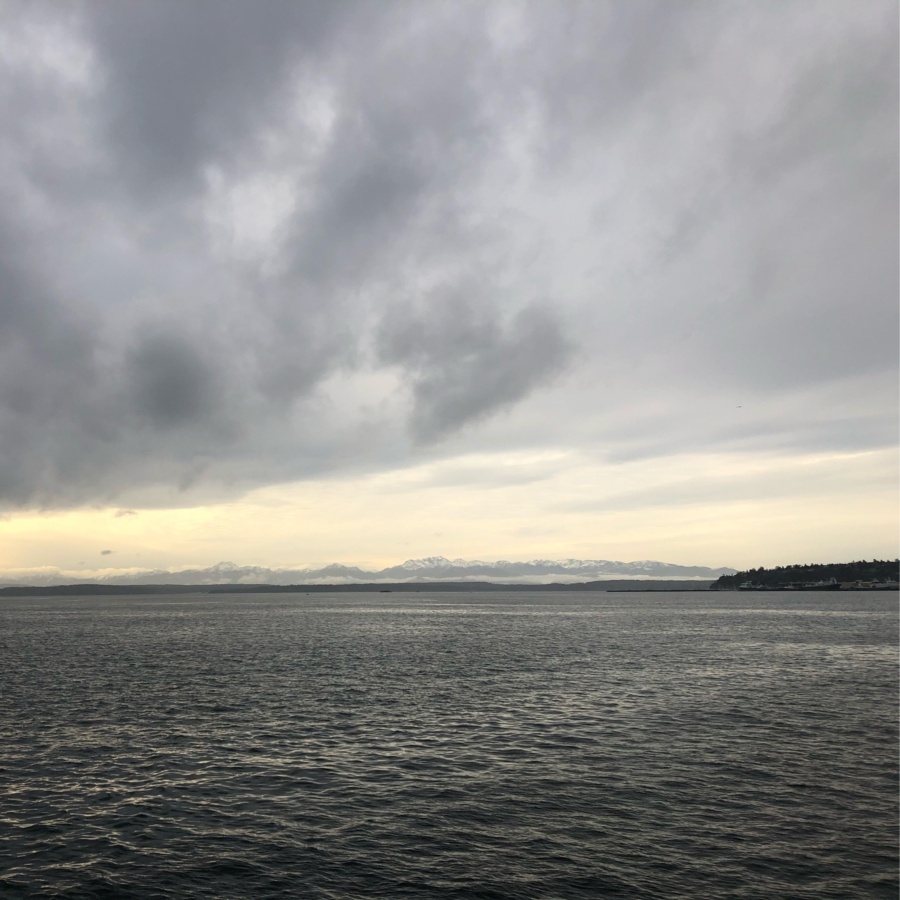 Dramatic white clouds hang low over the gray waters of Elliott Bay.