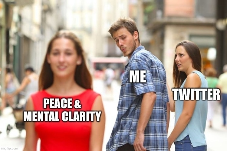 A meme. A man (me) whistles at a girl (Peace & Mental clarity) while his horrified girlfriend (Twitter) watches.