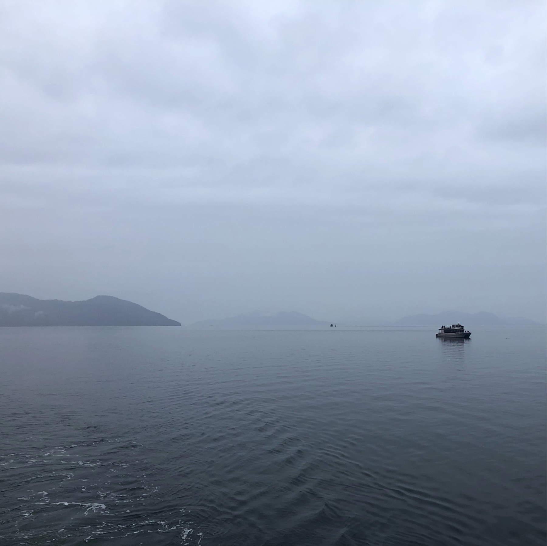 A tiny whale watching boat in misty, desolate gray waters. A small island is half-hidden in mist.