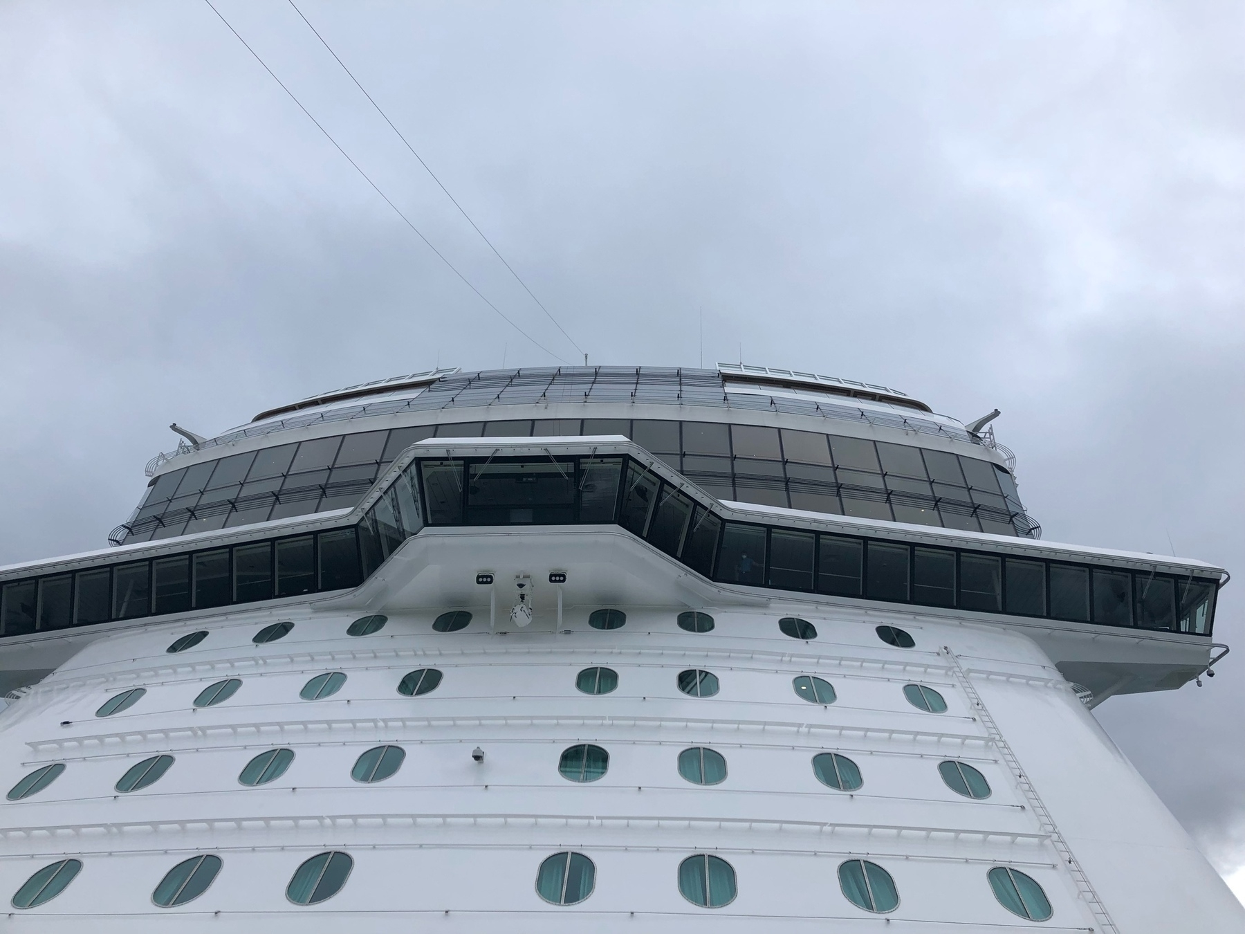A long strip of windows up high on the front of a cruise ship. Below, the hull is white with curtained windows.