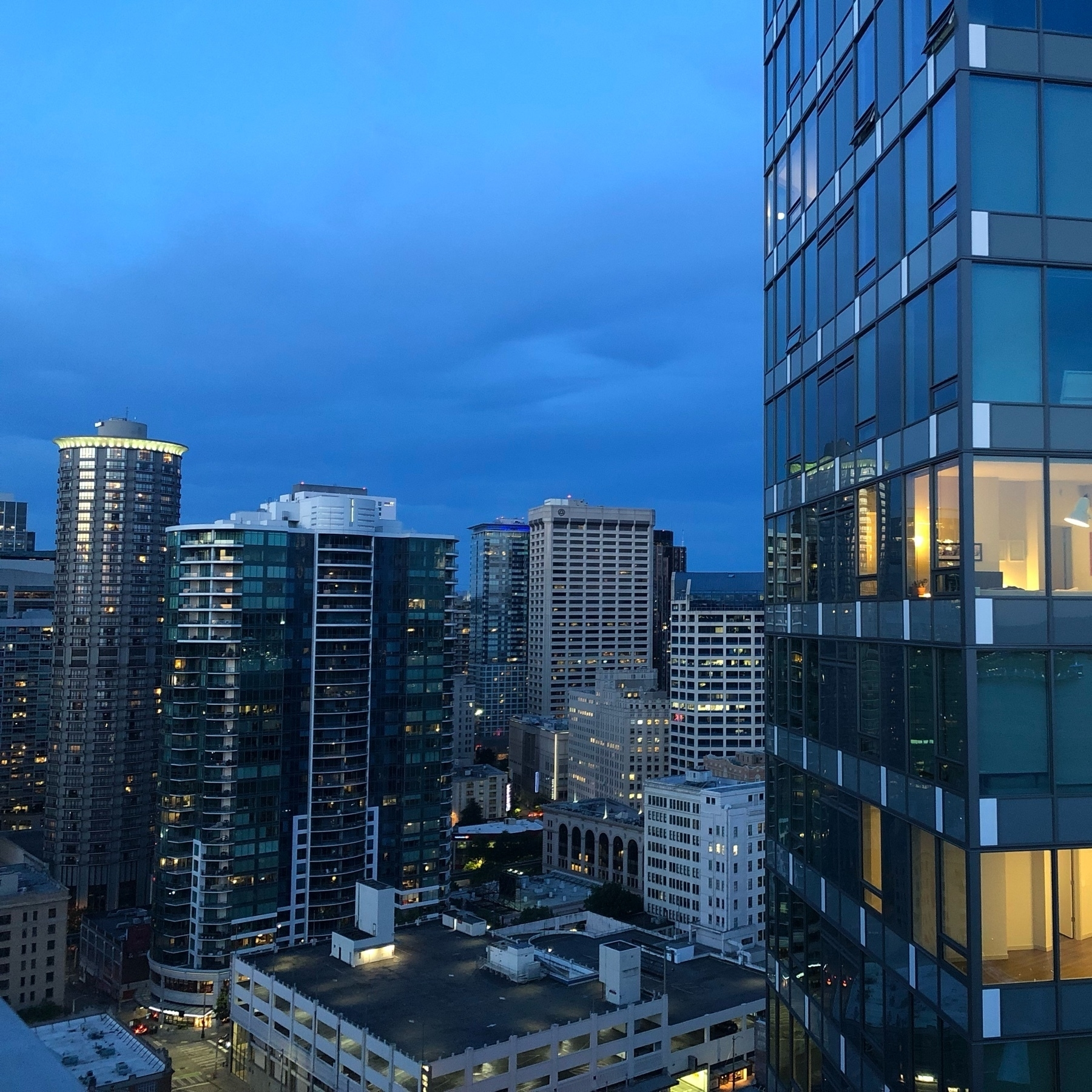 Seattle at twilight in a thousand shades of blue. A cityscape.