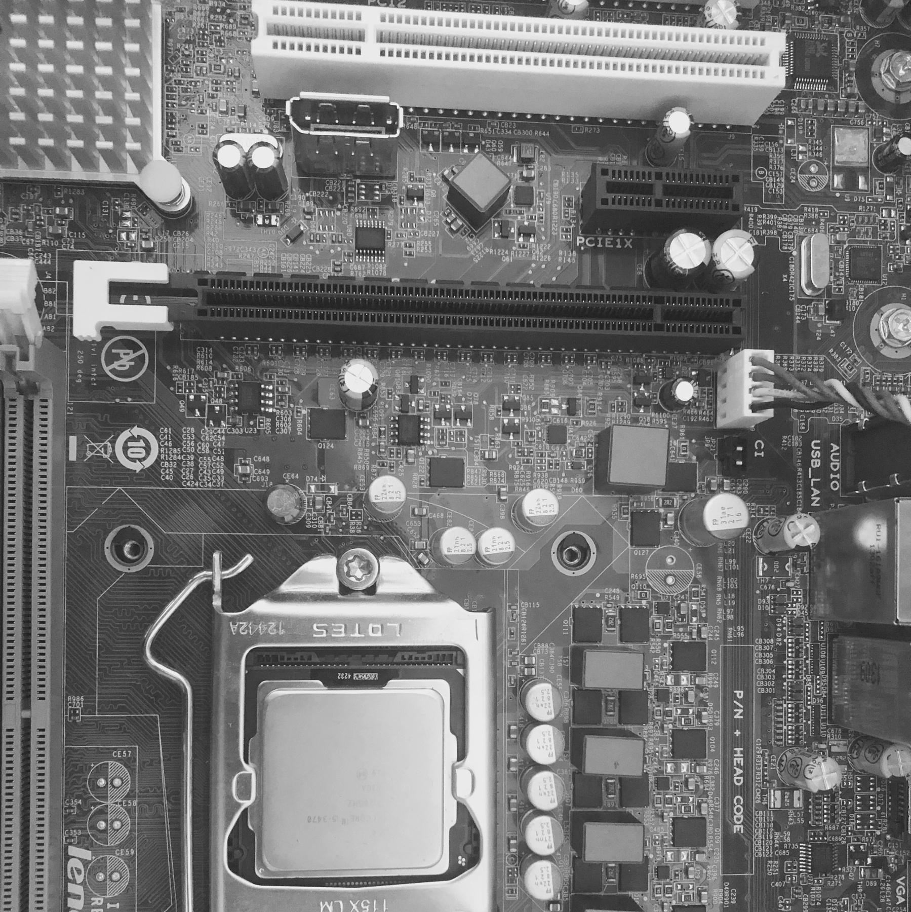 An artistic close up of a motherboard