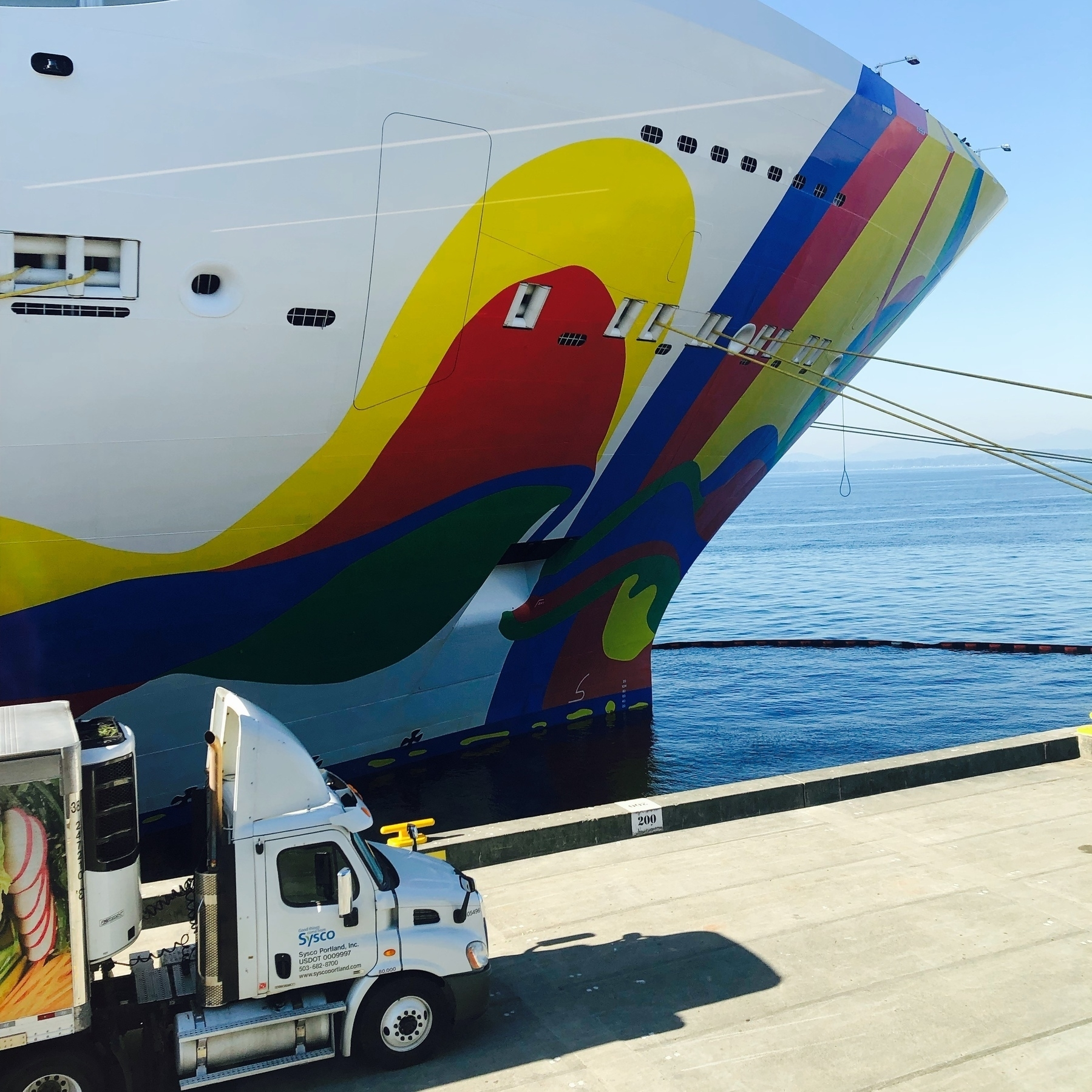 The front of a cruise ship splashed with red yellow and blue swirls. An semi truck on the dock below looks like a toy compared to the behemoth ship.