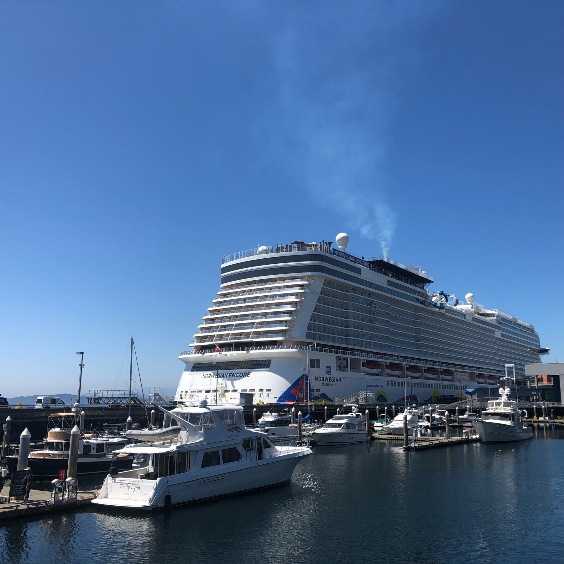 The Norwegian Epic sits at Pier 66 like an enormous white floating hotel.